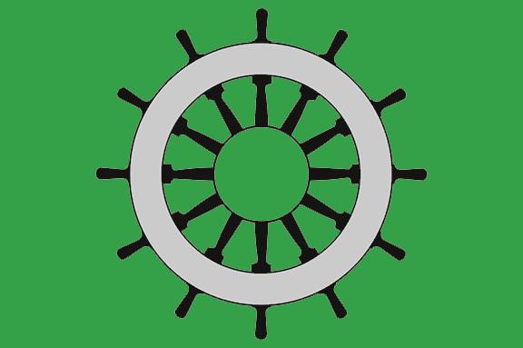 Logo der Selbsthilfekontaktstelle, ein Steuerrad auf grünem Hintergrund